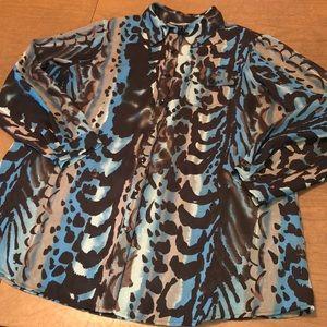 Lightweight Blue Tan Abstract Animal Print Top 1X